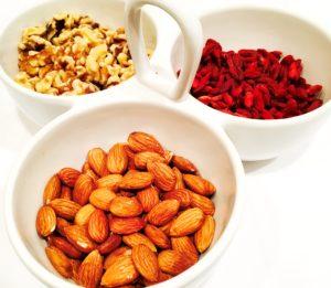 My breakfast of choice: Raw almonds, raw walnuts, & sun-dried Goji berries